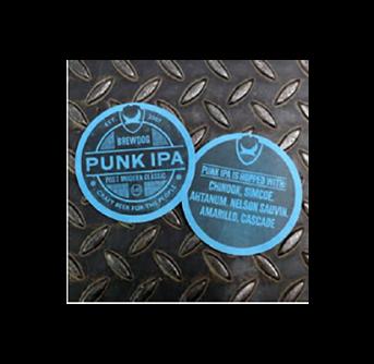 POS Brewdog Punk Circular Beer Mats (125pc) Stack